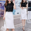 Dress Summer 2021 Black Vest + white skirt suit S,M,L,XL Mid length dress Two piece set Short sleeve commute Crew neck High waist Solid color zipper One pace skirt routine Others 25-29 years old Type A lady 6555jjhh99 More than 95% other other