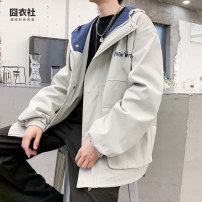 Jacket Jiong clothing Club Youth fashion Light apricot black M L XL 2XL routine easy Other leisure autumn Cotton 95% other 5% Long sleeves Wear out Hood tide youth routine Zipper placket Cloth hem No iron treatment Closing sleeve Solid color Autumn 2020 printing Three dimensional bag