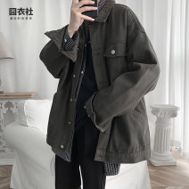 Jacket Jiong clothing Club Youth fashion M L XL 2XL 3XL routine easy Other leisure autumn Cotton 95% other 5% Long sleeves Wear out Lapel tide youth routine Single breasted Cloth hem No iron treatment Loose cuff Solid color Denim Autumn 2020 More than two bags) Side seam pocket