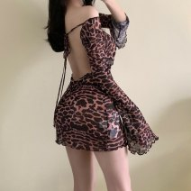 Dress Summer 2021 Leopard Print S,M,L Short skirt singleton  Long sleeves other Leopard Print other routine Others other