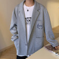 man 's suit Gray, black, blue Others Youth fashion routine S,M,L,XL,2XL,XS Polyester 100% easy Double breasted Other leisure No slits teenagers Long sleeves autumn routine Youthful vigor Flat lapel Straight hem Solid color 2020 polyester fiber Embroidery More than 95%