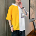 T-shirt Youth fashion Blue, yellow thin S. M, l, XL, 2XL, 3XL, XS plus small Others Short sleeve Hood easy Other leisure summer Polyester 95% polyurethane elastic fiber (spandex) 5% teenagers 2021 other