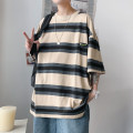 T-shirt Youth fashion White, Khaki routine S. M, l, XL, 2XL, XS plus small Others Short sleeve Crew neck easy Other leisure summer teenagers routine tide Cotton wool 2021 stripe Color contrast cotton other No iron treatment