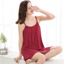 Nightdress Wannijia T5208, t5207, t5213, 520653505351, b52375349, b5235, t5191, t5216, t5217, t5252 blue, t5252 orange, t5153, 51735176517451755177518751955231 luxurious camisole pajamas Middle-skirt summer Solid color middle age Crew neck cotton printing More than 95% Modal fabric