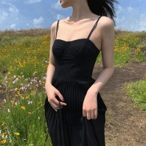 Dress Summer 2021 Graphic skirt S M L XL Mid length dress singleton  Sleeveless commute square neck High waist Solid color Socket A-line skirt routine Others 18-24 years old Shaxu Korean version 71% (inclusive) - 80% (inclusive) other polyester fiber Polyester 80% other 20%