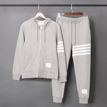 Leisure sports suit autumn S,M,L,XL,2XL,3XL,XS Light gray, dark blue, black, light gray (plush), black (plush), dark blue (plush) Long sleeves THON BROGAN trousers youth Sweater TZ001 2017