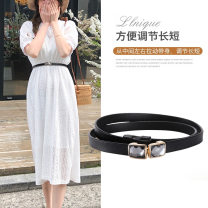 Belt / belt / chain Double skin leather Red, black, white, brown female belt Simplicity Single loop other 2cm alloy alone 1cm