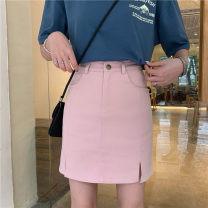 skirt Summer of 2019 M,L,XL,2XL,3XL,4XL Black, pink Short skirt commute High waist A-line skirt Solid color Type A Button, zipper, split Korean version