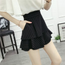 skirt Summer of 2018 M,L,XL,2XL,3XL,4XL black Short skirt Versatile High waist Cake skirt stripe Type A Chiffon other Zipper, stitching