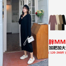 Women's large Autumn 2020 Black, purple, white, khaki Large XL, large XXL, large XXL Dress singleton  commute easy moderate Long sleeves Solid color lady Medium length Acrylic, nylon Other / other 18-24 years old longuette other