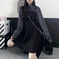 Dress Spring 2021 Dress, shirt S,M,L Short skirt Two piece set Long sleeves commute Polo collar High waist Big swing routine camisole 18-24 years old Type A rivet 51% (inclusive) - 70% (inclusive) other cotton