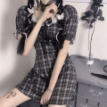 Dress Summer 2021 Plaid skirt M,L,XL Middle-skirt singleton  Short sleeve commute square neck middle-waisted Socket puff sleeve 18-24 years old Type A Korean version Frenulum 81% (inclusive) - 90% (inclusive) other polyester fiber