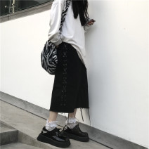 skirt Winter 2020 S,M,L,XL black Mid length dress Versatile High waist Solid color 18-24 years old