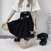 skirt Summer 2021 M. L, XL, butterfly chain White, black Short skirt commute High waist Pleated skirt other Type A 18-24 years old 31% (inclusive) - 50% (inclusive) cotton Korean version