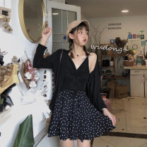 skirt Spring 2021 M,L,XL,2XL,3XL,4XL,5XL black Short skirt Versatile High waist A-line skirt Dot Type A 51% (inclusive) - 70% (inclusive) other other Pleating