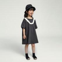 Dress female NNGZ 110cm 120cm 130cm 140cm 150cm 160cm 170cm Cotton 100% summer solar system Short sleeve Solid color cotton A-line skirt Class B Summer 2021