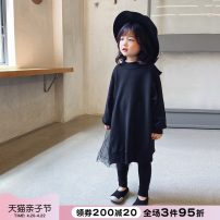 Dress black female NNGZ 110cm 120cm 130cm Cotton 80% polyester 20% spring and autumn Korean version Long sleeves Solid color cotton other 003Q300 Class B Autumn 2020 Chinese Mainland Zhejiang Province Hangzhou