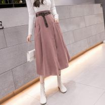 skirt Spring 2021 S,M,L,XL Black, green, khaki, pink longuette commute High waist Irregular Solid color Type A 18-24 years old G-64 30% and below other pocket lady