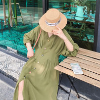 Dress Summer of 2019 Black, grape purple, deep bamboo green S,M,L,XL,2XL,3XL Mid length dress singleton  elbow sleeve commute V-neck High waist Solid color Single breasted other bishop sleeve Others Korean version 30% and below other