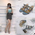Sandals Superfine fiber Barefoot Thick heel High heel (5-8cm) Spring 2020 Trochanter Europe and America Solid color Adhesive shoes Youth (18-40 years old), middle age (40-60 years old) TPR (tendon) daily Back space Low Gang Lateral space Microfiber skin Sheepskin sandals  Shaving Zero point eight