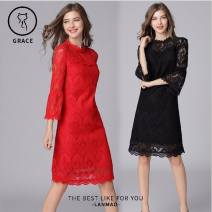 Dress Spring 2020 Red, black L,XL,2XL,3XL,4XL,5XL Mid length dress singleton  three quarter sleeve street Loose waist Solid color Socket Princess Dress pagoda sleeve Others Type H Splicing 81% (inclusive) - 90% (inclusive) Lace Europe and America