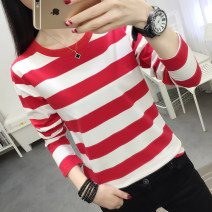 T-shirt M,L,XL,2XL,3XL,4XL,5XL Autumn of 2019 Long sleeves Crew neck easy routine commute cotton 51% (inclusive) - 70% (inclusive) 18-24 years old Korean version originality Coarse horizontal stripe Beautiful clothes world