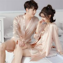 Nightgown / bathrobe Other / other lovers Male XXL, female XXL, male XXXL, female XXXL, female L, female XL, female m, male XL, male L Thin money Simplicity Polyester (polyester) summer 81% (inclusive) - 95% (inclusive) Short (Mid Thigh to knee) silk letter youth Embroidery 200g and below