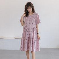 Dress Other / other White, purple Average size Korean version Short sleeve Medium length summer Crew neck Dot
