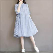 Dress Miss Mom blue M,L,XL,XXL,XXXL Korean version Long sleeves Medium length spring stand collar stripe Cotton and hemp