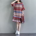 Dress Other / other Picture color M,L,XL,XXL leisure time Long sleeves Medium length summer Crew neck Decor Cotton and hemp
