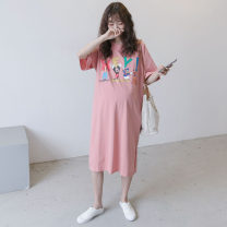 Dress Other / other Pink Average size Korean version Short sleeve Medium length summer Crew neck other