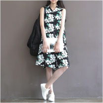 Dress Other / other Decor S,M,L,XL,XXL Sleeveless V-neck Decor polyester fiber