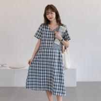 Dress Other / other blue Average size Korean version Short sleeve Medium length summer V-neck lattice
