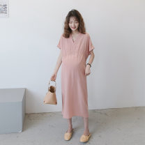 Dress Other / other Pink, blue Average size Korean version Short sleeve have more cash than can be accounted for summer V-neck Solid color Chiffon