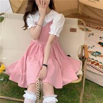 Dress Spring 2021 S peach pink dress, s black dress, white shirt, m peach pink dress, m black dress Average size Short skirt singleton  Sleeveless straps 18-24 years old