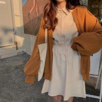 Dress Winter 2020 Apricot, black Average size Miniskirt singleton  Long sleeves square neck other other other Others 18-24 years old 31% (inclusive) - 50% (inclusive) other polyester fiber