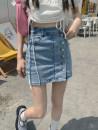 skirt Summer 2021 S,M,L Denim light blue Short skirt Versatile High waist skirt Solid color Type H Button