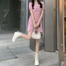 Dress Summer 2021 Black, pink S,M,L Short skirt singleton  Short sleeve square neck Solid color Socket puff sleeve Type A Lotus leaf edge
