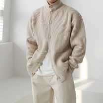 T-shirt / sweater Others Fashion City Light beige, carbon Average size routine Cardigan stand collar Long sleeves winter easy 2020 leisure time Exquisite Korean style youth routine Solid color