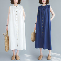 Women's large Summer 2020 Big size average Dress singleton  commute easy moderate Cardigan Sleeveless Simplicity Crew neck fold other Button 96% and above longuette Lotus leaf edge