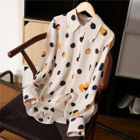 shirt Picture color M,L,XL,2XL Summer 2020 silk 51% (inclusive) - 70% (inclusive) Long sleeves commute Regular Crew neck Single row multi button routine Dot Straight cylinder Print, lace up real silk