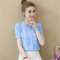 shirt White blue S M L XL 2XL Summer of 2019 polyester fiber 96% and above Short sleeve Sweet Regular stand collar Single row multi button routine Solid color 30-34 years old Self cultivation Han daisa Cut out lace button Polyester 100% Pure e-commerce (online only)