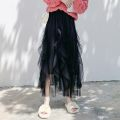 skirt Spring 2021 Average size Green, apricot, blue, black Mid length dress commute High waist Fluffy skirt Solid color Type A 18-24 years old X 71% (inclusive) - 80% (inclusive) Chiffon other Flounce, mesh, stitching Korean version
