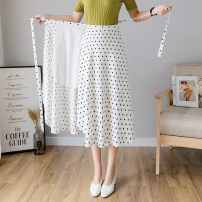 skirt Spring 2021 Average size Black dot, white dot longuette Versatile High waist A-line skirt Solid color Type A 18-24 years old B-1 31% (inclusive) - 50% (inclusive) Lace, lace