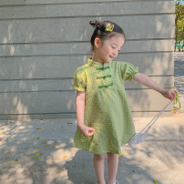 cheongsam 80, 90, qiqichuan, 100, 110, 120, 130, 140, 150 Avocado Green, Avocado Green Other 100% LAN xiaopa There are models in the real shooting summer lattice other other Chinese Mainland