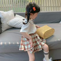 skirt 80, 90, qiqichuan, 100, 110, 120, 130, 140, 150 lattice LAN xiaopa female Other 100% summer skirt fresh Solid color Pleats other