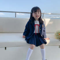 suit LAN xiaopa Jacket, pleated skirt, white shirt, vest skirt, trousers, knitted cardigan, knitted vest, blue dress, bow shirt, jacket, bow shirt, white shirt 80, 90, qiqichuan, 100, 110, 120, 130, 140, 150 female spring Simplicity other Multi piece set routine There are models in the real shooting