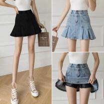 skirt Summer 2021 S,M,L,XL,2XL Light blue, black Short skirt Versatile High waist Ruffle Skirt Type A 18-24 years old 81% (inclusive) - 90% (inclusive) Denim