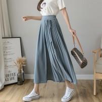 Casual pants Black, white, grey blue S,M,L,XL Summer 2021 Ninth pants loose  High waist Thin money 25-29 years old Bandage
