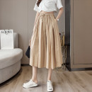 Casual pants Army green, khaki, black S,M,L,XL Summer 2021 Cropped Trousers Wide leg pants High waist commute Thin money 25-29 years old Korean version pocket